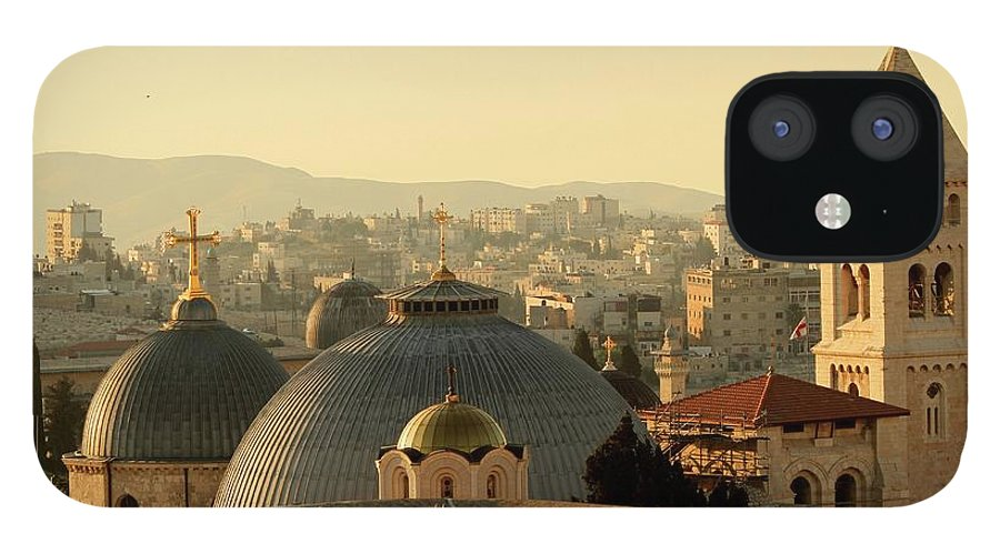 West Bank IPhone 12 Case featuring the photograph Jerusalem Churches On The Skyline by Picturejohn