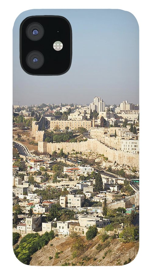 Built Structure IPhone 12 Case featuring the photograph Jerusalem City Wall From A Distance by Raquel Lonas