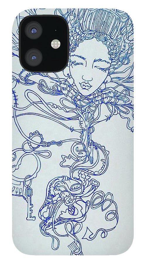 IPhone 12 Case featuring the painting Keys To The Garden by Judy Henninger