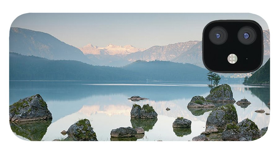 Scenics IPhone 12 Case featuring the photograph Lake Altaussee With Glacier Dachstein by 4fr