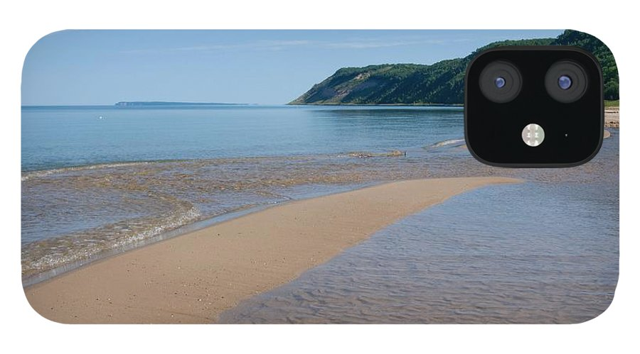 Lake Michigan IPhone 12 Case featuring the photograph Lake Michigan Beachscape With Wooded by Corfoto