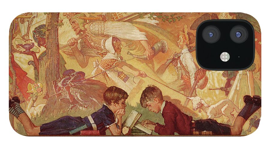 Books IPhone 12 Case featuring the drawing Land Of Enchantment by Norman Rockwell