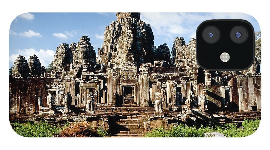 Scenics IPhone 12 Case featuring the photograph Landscape Photo Of Bayon Temple In by Laughingmango