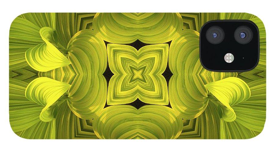 Mandala iPhone 12 Case featuring the photograph Leafy Mandala by Steve Satushek