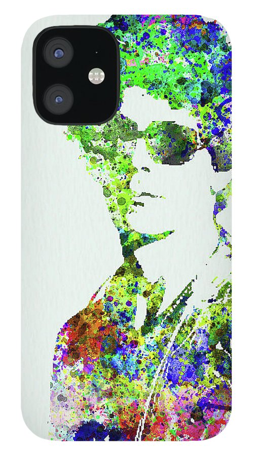 Bob Dylan IPhone 12 Case featuring the mixed media Legendary Bob Dylan Watercolor by Naxart Studio