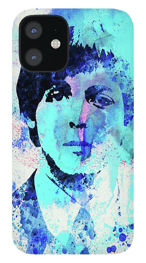 Beatles IPhone 12 Case featuring the mixed media Legendary Paul Watercolor by Naxart Studio