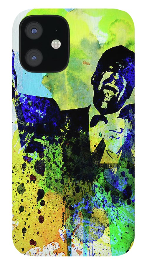Rat Pack IPhone 12 Case featuring the mixed media Legendary Rat Pack Watercolor by Naxart Studio