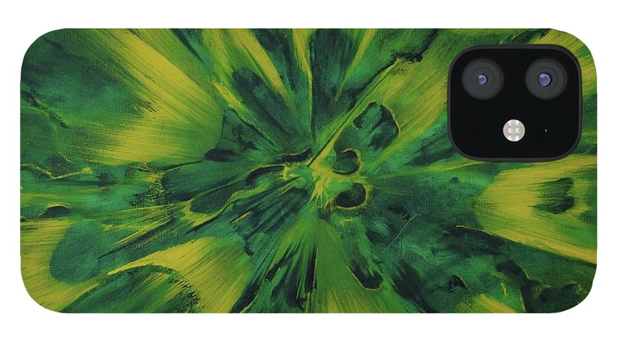 Center IPhone 12 Case featuring the painting Lemon And Lime Ejecta by Sean Connolly