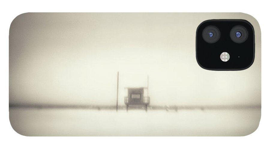 California IPhone 12 Case featuring the photograph Lifeguard Hut On Santa Monica Beach by Alan Horsager