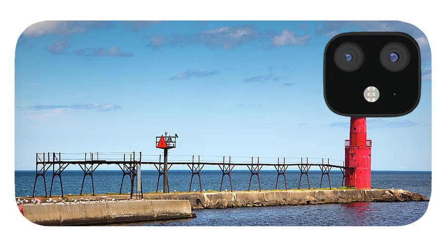 Lake Michigan IPhone 12 Case featuring the photograph Lighthouse And Pier On Lake Michigan by Jamesbrey