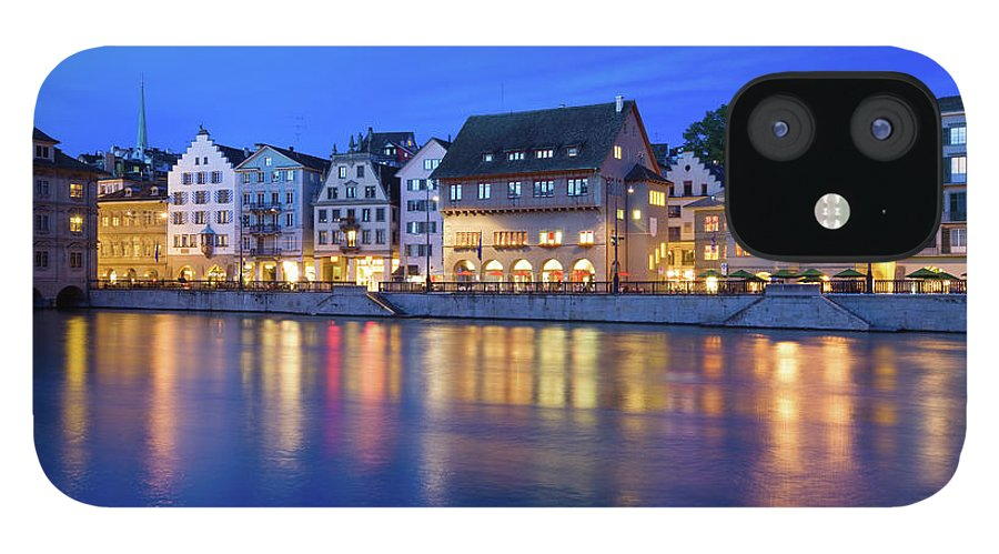 Zurich IPhone 12 Case featuring the photograph Limmat River Waterfront In Downtown by Benedek