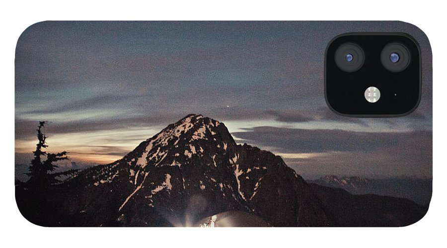 Camping IPhone 12 Case featuring the photograph Lit Tent At Night by Christopher Kimmel
