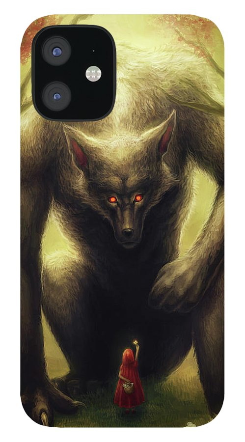 Little Red Riding Hood iPhone 12 Case featuring the mixed media Little Red Riding Hood by Jojoesart