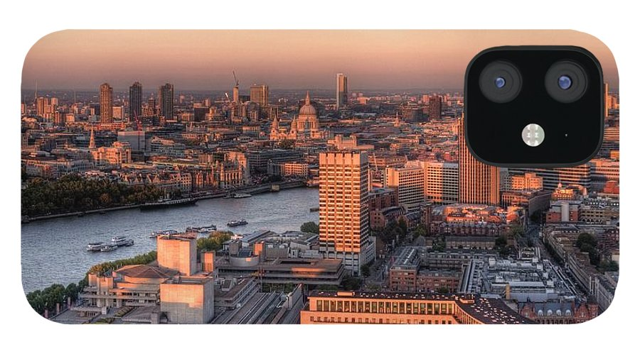 Cityscape IPhone 12 Case featuring the photograph London Cityscape At Sunset by Michael Lee