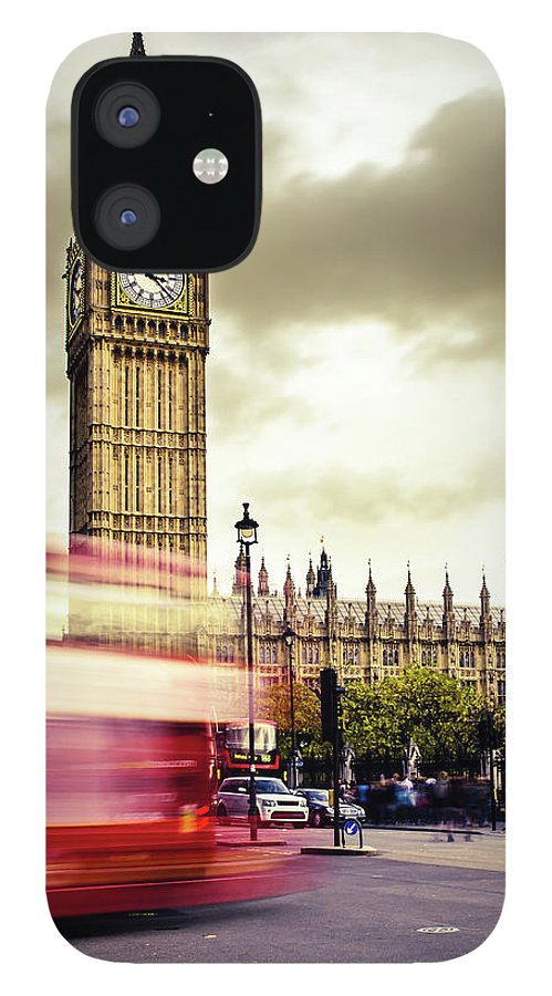 Clock Tower IPhone 12 Case featuring the photograph London Double Decker Bus Near Big Ben by Filippobacci