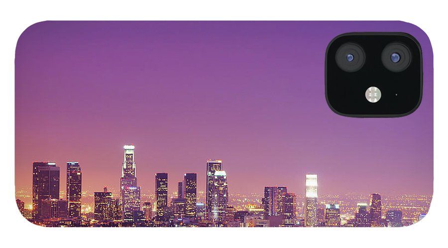 Clear Sky IPhone 12 Case featuring the photograph Los Angeles At Dusk by Dj Murdok Photos