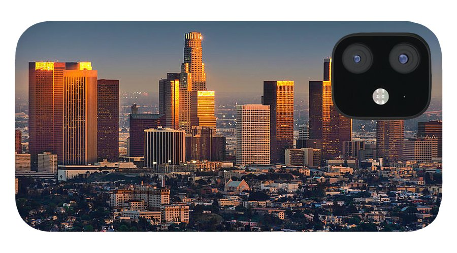 Scenics IPhone 12 Case featuring the photograph Los Angeles Skyline At Sunset Thru Smog by Dszc