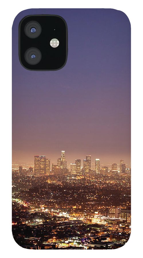 Scenics IPhone 12 Case featuring the photograph Los Angeles Skyline At Twilight by Uschools