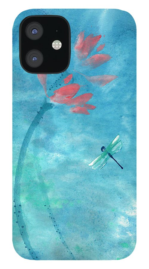 An Elegant Dragonfly Dotting Among Lotus Flowers On A Breezy Pond. The Painting Is Done With Watercolor On Rice Paper By Mui-joo Wee In Simple Contemporary Brush Strokes IPhone 12 Case featuring the painting Lotus and dragonfly by Mui-Joo Wee