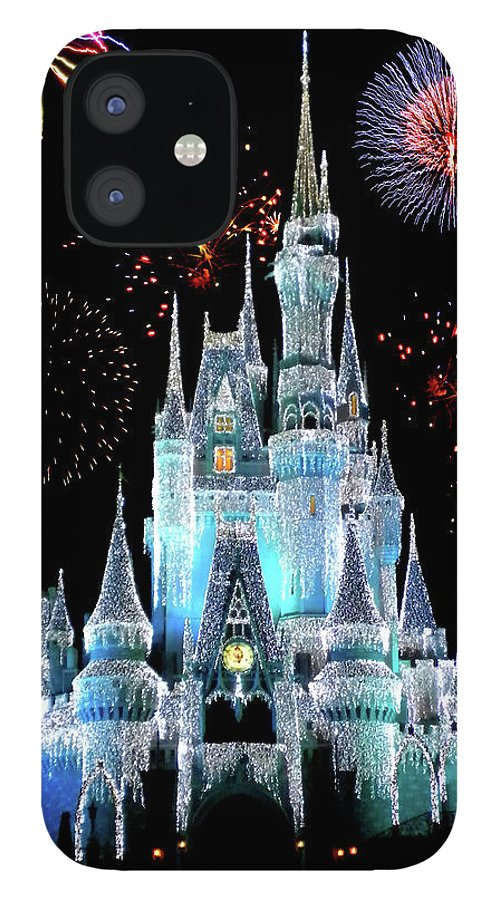 Castle IPhone 12 Case featuring the photograph Magic Kingdom Castle In Frosty Light Blue with Fireworks 06 by Thomas Woolworth