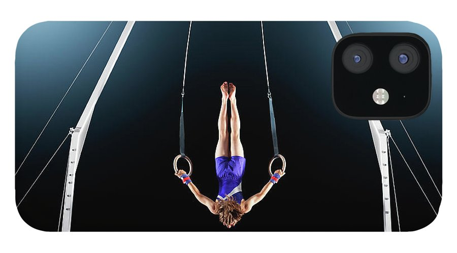 Focus iPhone 12 Case featuring the photograph Male Gymnast Upside Down Performing On by Robert Decelis Ltd