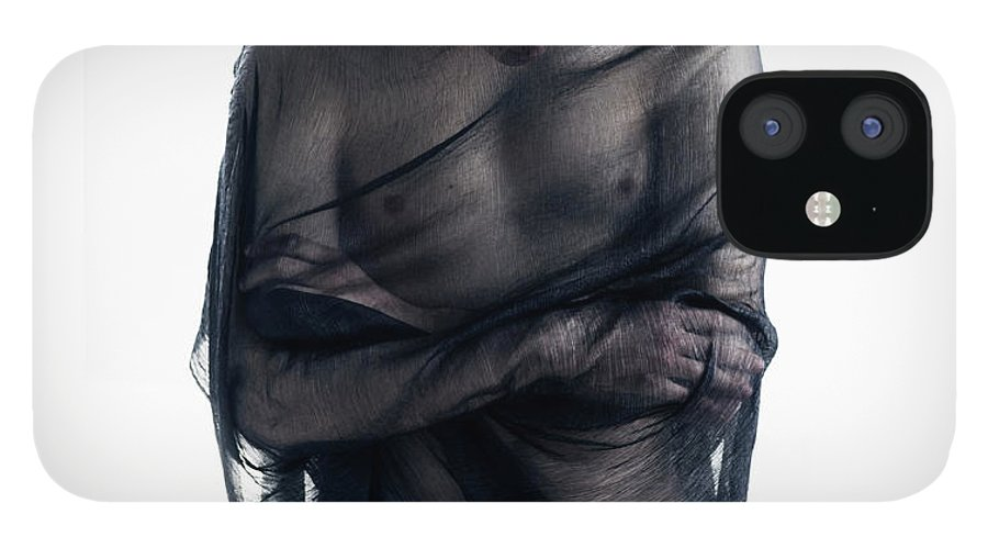 Three Quarter Length IPhone 12 Case featuring the photograph Man Covered In Black Material by Tara Moore