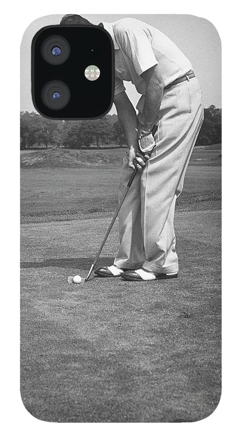 People iPhone 12 Case featuring the photograph Man Golfing by George Marks