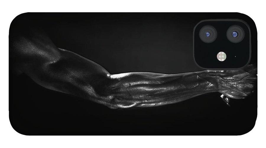Human Arm IPhone 12 Case featuring the photograph Man Holding Tennis Racket, B&w Digital by Hans Neleman