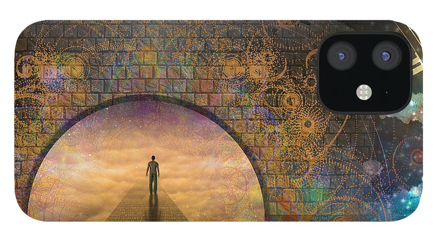 Door IPhone 12 Case featuring the digital art Man On Path And Doorway With Aged Clock by Bruce Rolff