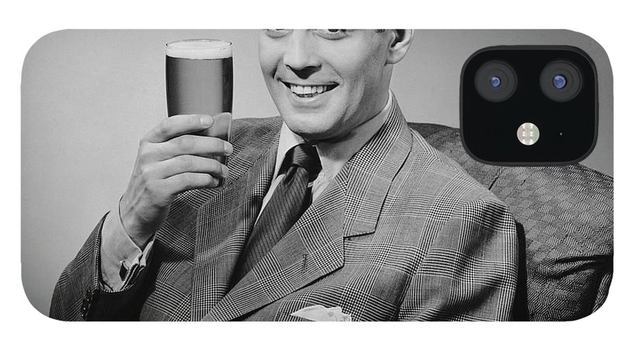 Mature Adult IPhone 12 Case featuring the photograph Man Sitting & Having A Beer by George Marks
