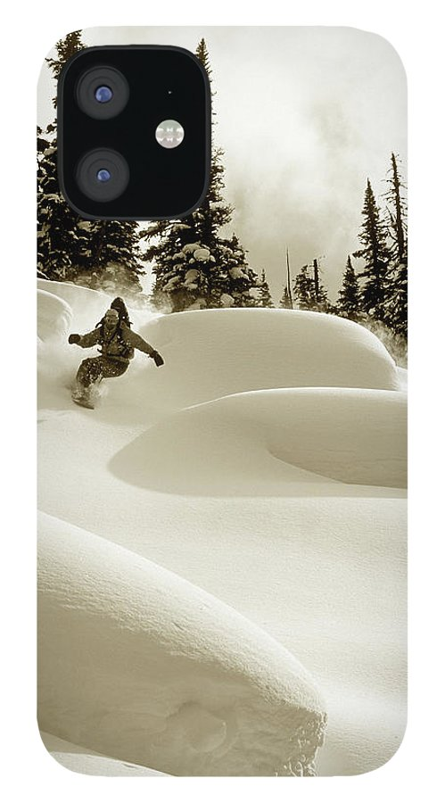 One Man Only IPhone 12 Case featuring the photograph Man Snowboarding B&w Sepia Tone by Per Breiehagen