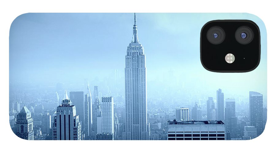 Lower Manhattan IPhone 12 Case featuring the photograph Manhattan Skyline In The Fog, Nyc. Blue by Lisa-blue