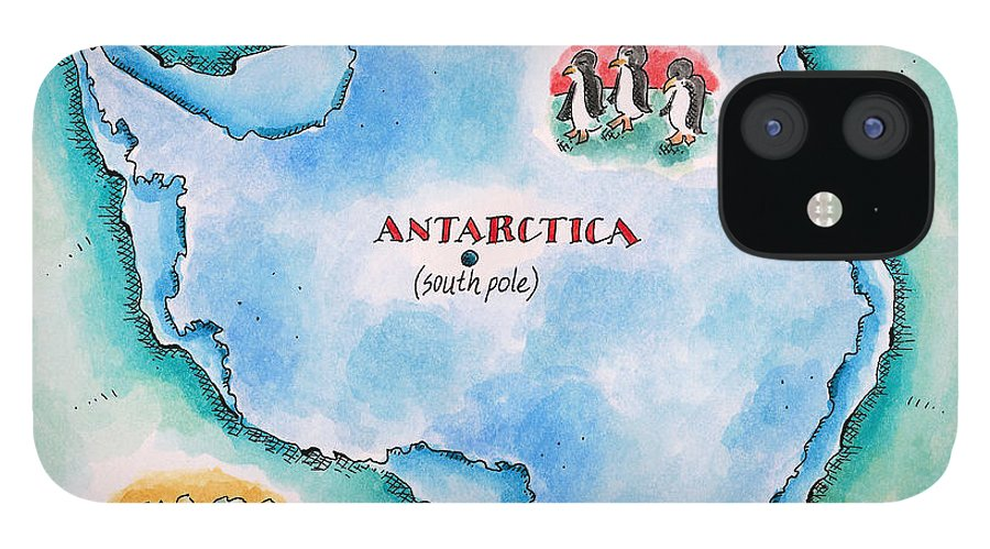 Watercolor Painting IPhone 12 Case featuring the digital art Map Of Antarctica by Jennifer Thermes