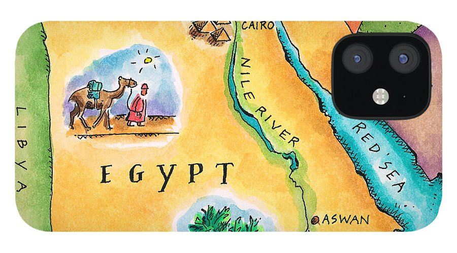 Watercolor Painting IPhone 12 Case featuring the digital art Map Of Egypt by Jennifer Thermes