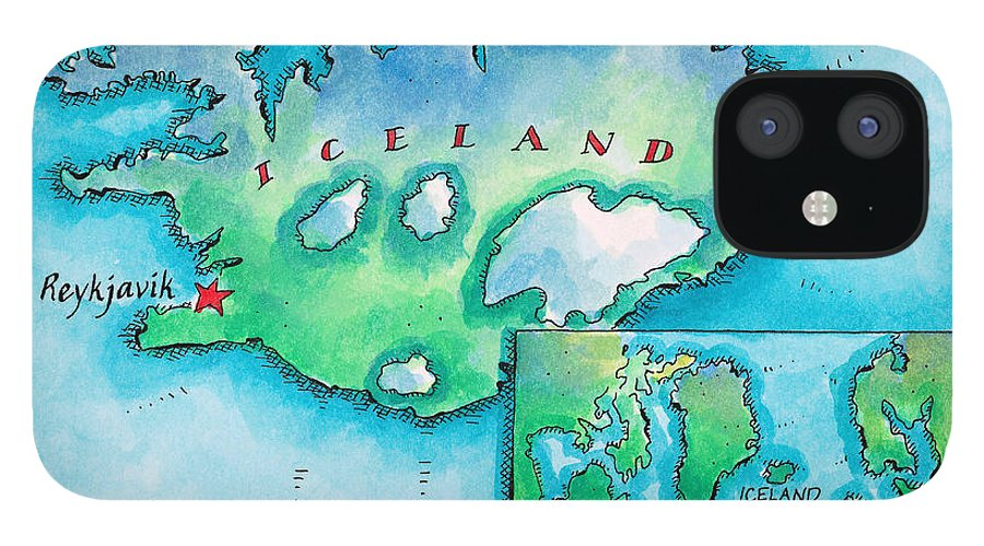 Watercolor Painting iPhone 12 Case featuring the digital art Map Of Iceland by Jennifer Thermes