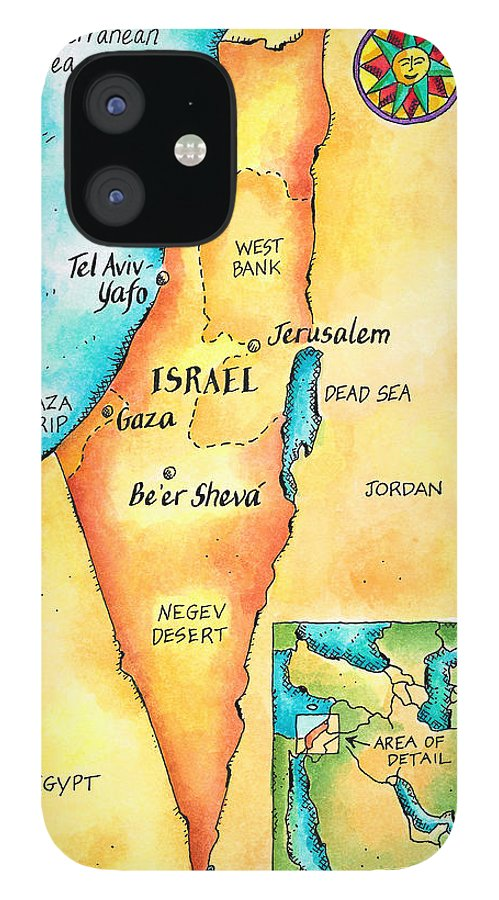 Watercolor Painting iPhone 12 Case featuring the digital art Map Of Israel by Jennifer Thermes