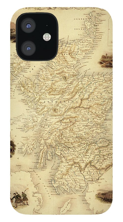 Journey iPhone 12 Case featuring the digital art Map Of Scotland From 1851 by Nicoolay