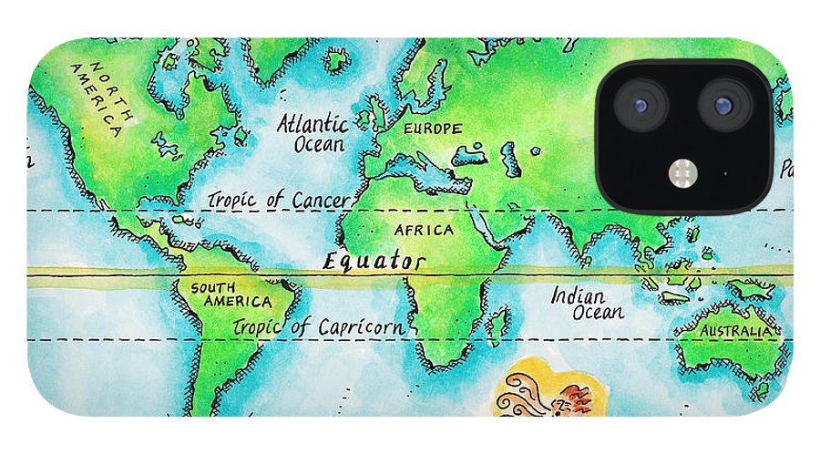 Watercolor Painting IPhone 12 Case featuring the digital art Map Of The World & Equator by Jennifer Thermes