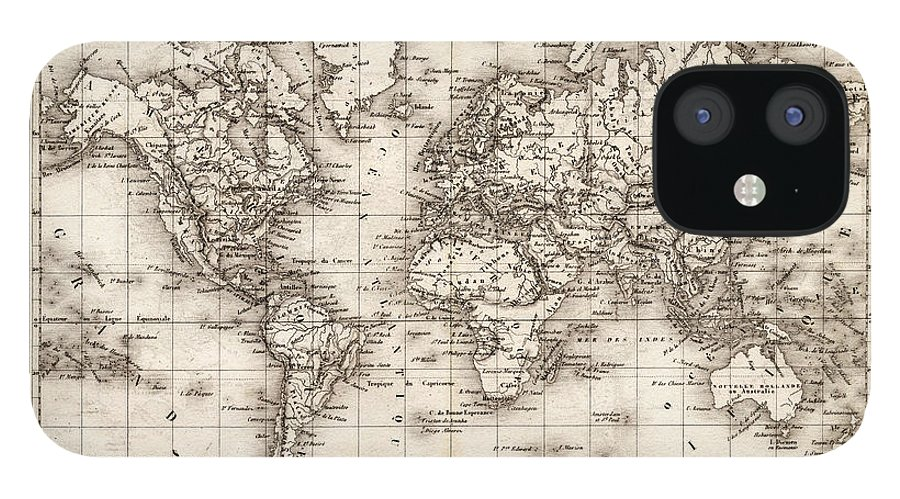 Oceania IPhone 12 Case featuring the digital art Map Of The World 1842 by Thepalmer