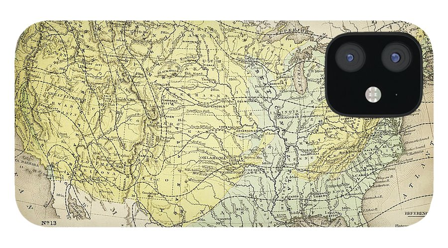 Burnt IPhone 12 Case featuring the digital art Map Of Usa 1867 by Thepalmer