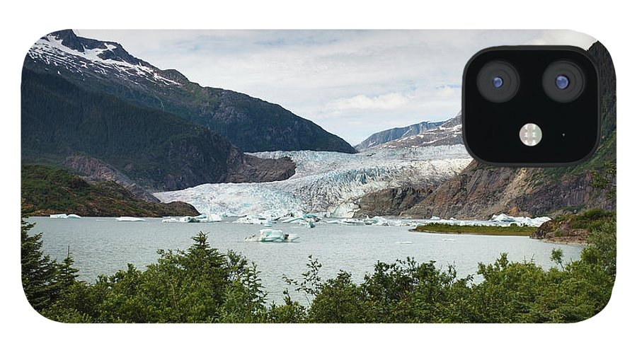 Water's Edge IPhone 12 Case featuring the photograph Mendenhall Glacier And Bay by Blake Kent / Design Pics