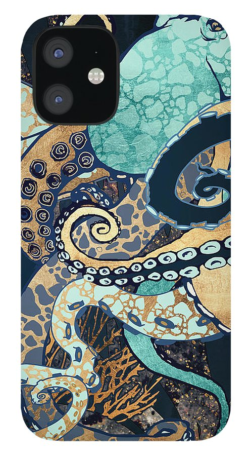 Digital IPhone 12 Case featuring the digital art Metallic Octopus II by Spacefrog Designs