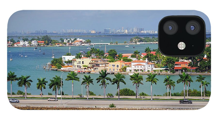 Trading IPhone 12 Case featuring the photograph Miami Mac Arthur Causeway En Route To by Jfmdesign