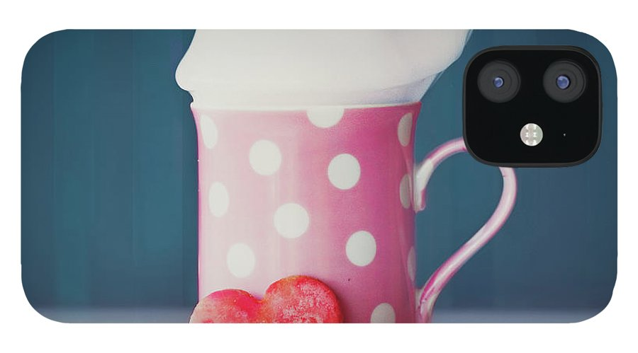 Milk IPhone 12 Case featuring the photograph Milk And Heart Shape Cookies by Julia Davila-lampe