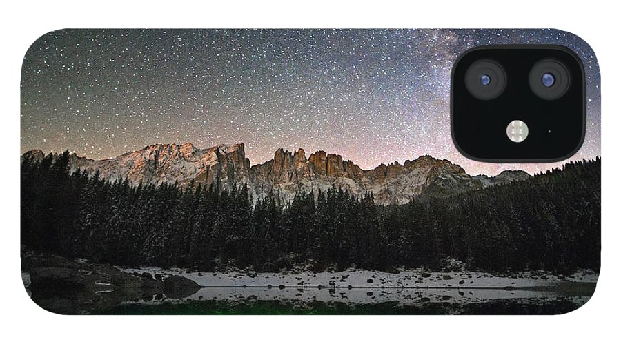 Scenics IPhone 12 Case featuring the photograph Milky Way In The Alps by Scacciamosche