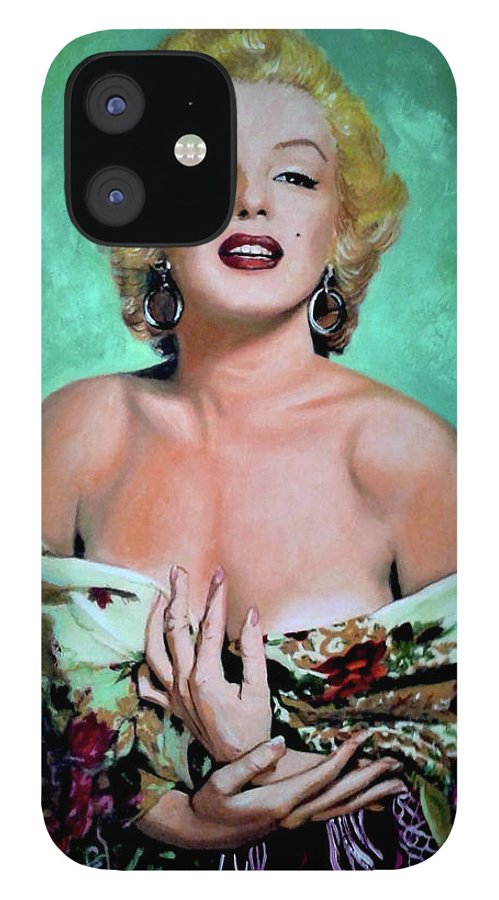 Woman IPhone 12 Case featuring the painting M.Monroe 4 by Jose Manuel Abraham