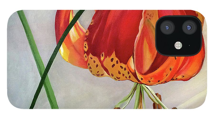 Painting IPhone 12 Case featuring the painting Moment in the Sun - Lily by Mary Chant