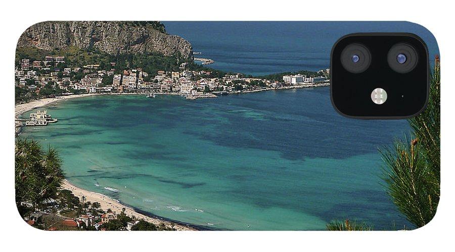 Scenics IPhone 12 Case featuring the photograph Mondello Mare E Cielo by Foto Pietro Columba