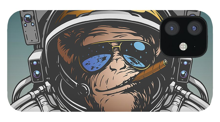 Symbol IPhone 12 Case featuring the digital art Monkey Astronaut Illustration by D1sk