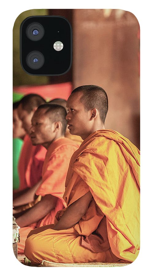 Young Men IPhone 12 Case featuring the photograph Monks At Breakfast, Wat Monastery by Cultura Rm Exclusive/gary Latham